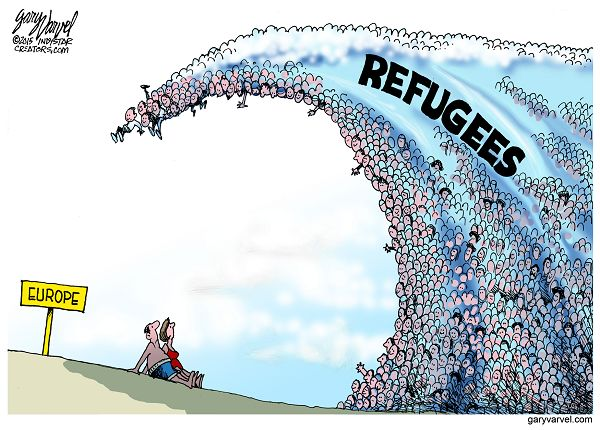 Cartoonist Gary Varvel: Waves of Syrian refugees in Europe
